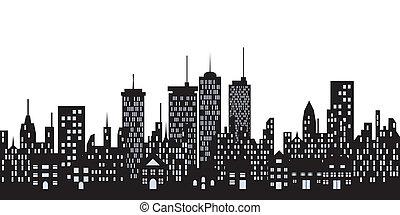 urban, bebyggelse, i staden