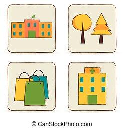 urban, bebyggelse, set., ställen, ikonen