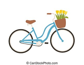 Urban bicycle or city bike with step-through frame and front...