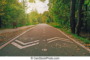 Urban bike lane in a park. Bicycle lane mark. Two way cycling track