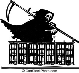 Woodcut style image of death with a scythe over Baltimore row homes.