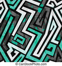 urban blue maze seamless pattern with grunge effect
