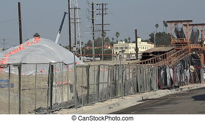 Urban bridge construction - Bridge construction in downtown...