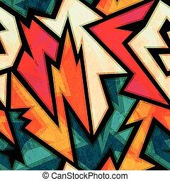 urban bright geometric seamless pattern with grunge effect