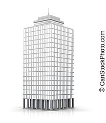 Urban building - 3D rendered illustration. Isolated on white...