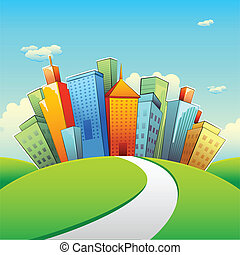 Urban Building - illustration of road going towards city ...