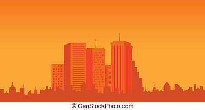 Urban buildings at sunset