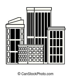 urban buildings construction properties cartoon