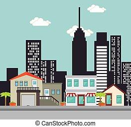 Urban buildings graphic
