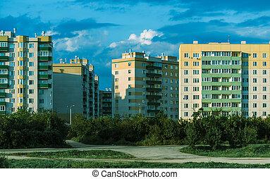 urban buildings on blue sky background