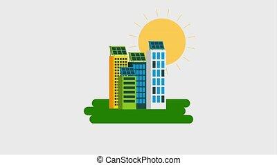 ecology energy renewable - urban buildings solar panel sun...