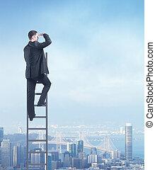 urban business concept - man climbing on ladder, urban...