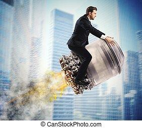 Urban businessman fly high