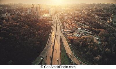 Urban car road traffic congestion aerial view - Urban Car...