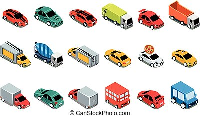 Urban cars and vehicles set, city transport vector Illustrations on a white background