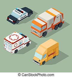 Urban cars isometric. Garbage truck mail van police and ambulance vector city traffic 3d illustrations
