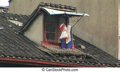 Urban China - Rooftop in urban Shanghai, China