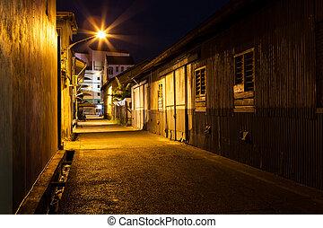 Urban city alley at night