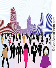 Urban city and people