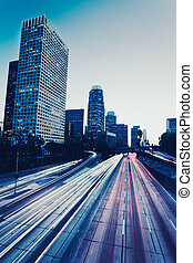 Urban City at Sunset