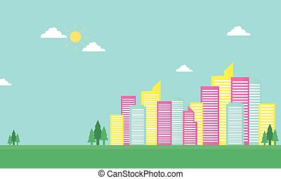 Urban city color vector flat of silhouette