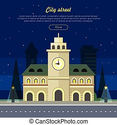 Urban City Illustration at Night Time. Building