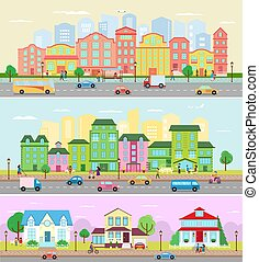 Urban city landscape vector cityscape with buildings and houses in the street of town downcity illustration