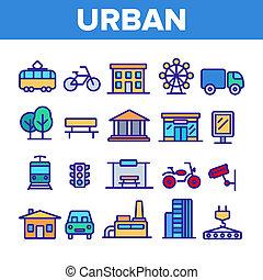 Urban, City Life Thin Line Icons Set