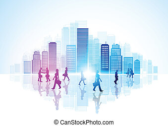 Urban City Life - Vector illustration with skyscrapers and city workers.