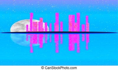 urban city lights night. Full moon raising over cityscape