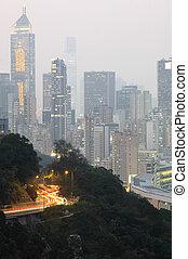 urban city night and traffic road