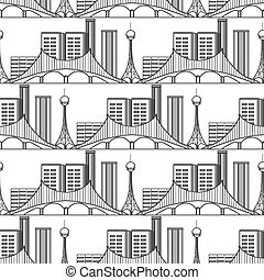 Urban city seamless pattern