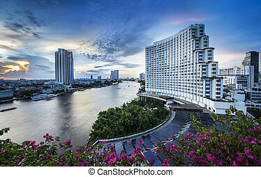 Urban City Skyline, Chao Phraya River, Bangkok, Thailand. - ...