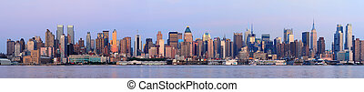 Urban City skyline panorama at dusk