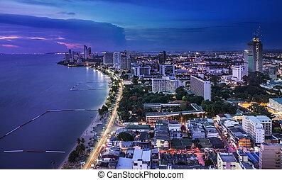 Urban city Skyline, Pattaya bay and beach, Thailand.