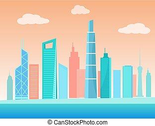 Urban City Skyscraper Buildings Coastline Vector