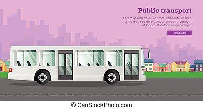 urban, city., stor, vit, allmän transport