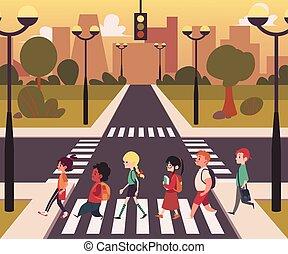 Urban city street pedestrian crossing, diverse cartoon character people walking on on empty road zebra crosswalk in single line