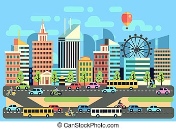 Urban, city traffic landscape with moving passenger transport vehicles, cars, scooter, motorcycle on highway vector illustration