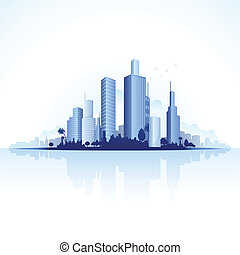 Urban City View - illustration of tall business tower of...