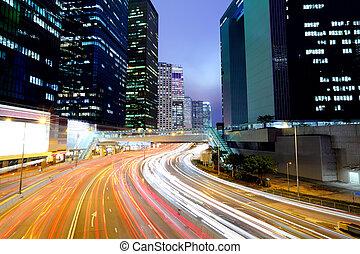 urban city with car light