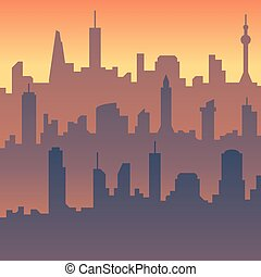 Urban cityscape. Cartoon city skyline vector silhouette
