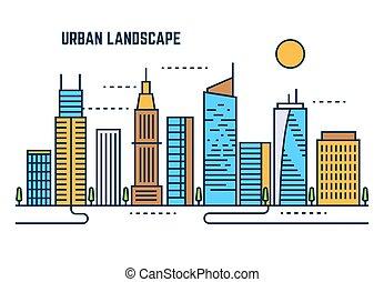 Urban cityscape flat line vector design