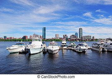 Urban cityscape in Boston - Boston Charles River with urban...
