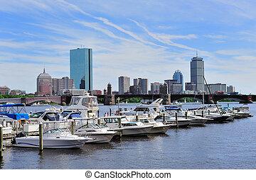 Urban cityscape in Boston - Boston Charles River with urban ...