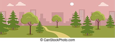 Urban Cityscape with Park.
