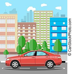 Urban cityscape with red car