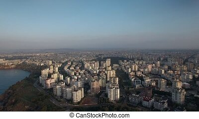 Urban coastal city with the sea - Aerial shot of a coastal...