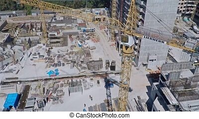 Urban construction site, aerial view