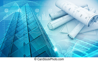 urban constructions abstract blue background 3d illustration